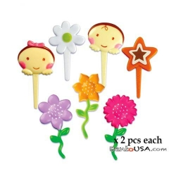 Food Decorating Pick Puffy Pick Baby Flower 14 pcs