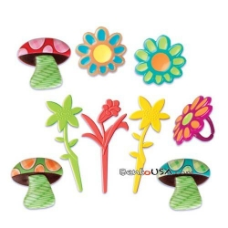 Food Decorating Pick Puffy Ring Mushroom Flower 9 pcs