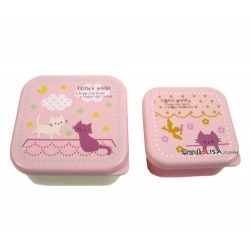Microwavable Japanese Bento Box Lunch Box set of 2 Mini Pink Cat