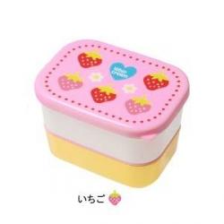 Microwavable Japanese Mini 2-tier Bento Snack Box Strawberry