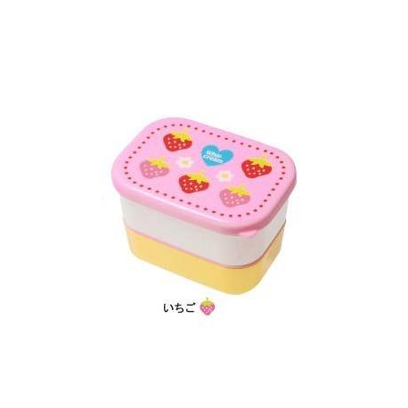 Microwavable Japanese 2-tier Bento Snack Box Strawberry