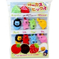 Japanese Bento Food Pick Cute Circus Animal 10 P