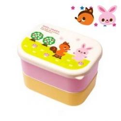 Microwavable Japanese Mini 2-tier Bento Snack Box Girl