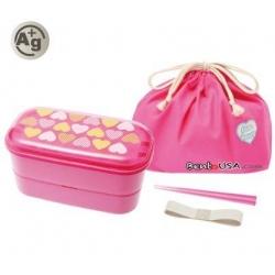 Authentic Japanese Ag+ Bento Box Lunch Box Designer Set Pink Heart