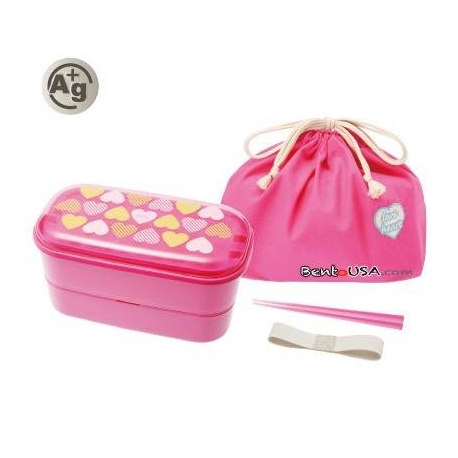 Authentic Japanese Bento Box Lunch Box Designer Set Pink Heart
