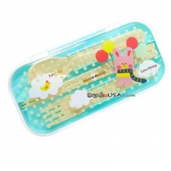 Portable Bento Cutlery Set 4 in 1 Polka Dots Rabbit