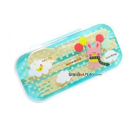 Portable Bento Cutlery Set 4 in 1 Polka Dots Rabbit