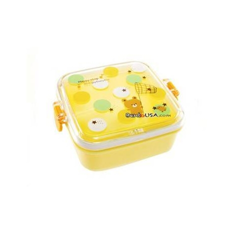 Microwavable Bento Box Snack Container Bear Yellow