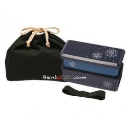 Japanese Bento Lunch Box Designer Set Slim Blue with Dividers
