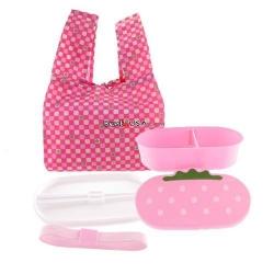 Japanese Bento Lunch Box Set Pink Strawberry with Chopsticks