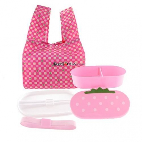 Japanese Bento Lunch Box Set Pink Strawberry with Chopsticks
