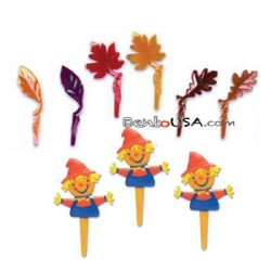 Food Decorating Pick Fall Leave Scarecrow 10 pcs