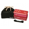 Japanese Bento Lunch Box Designer Set Slim Red with Dividers