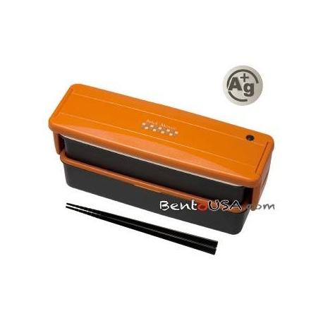 Japanese Ag+ Bento Lunch Box Set 2 Compartment Orange