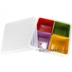 Bento Lunch Box Food Storage Removable 4 Compartments Medium