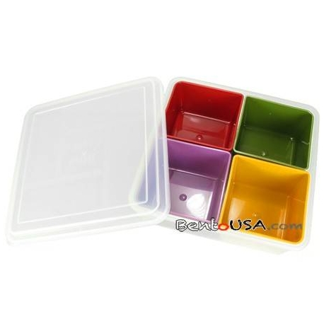 Square Bento Lunch Box Food Storage Removable 4 Compartments Medium
