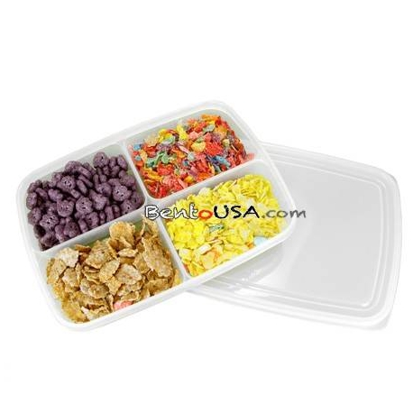 4 Sections Flat Food Storage Bento Lunch Box Small