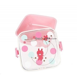 Microwavable Bento Box Snack Container Bear Pink