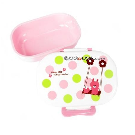 Microwavable Japanese Kids Bento Lunch Box Pink Bear