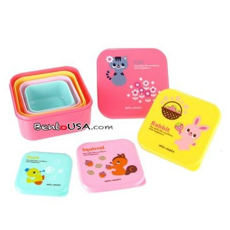 Microwavable Japanese Bento Box Lunch Box 4 Nesting Container