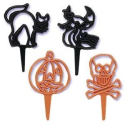 Food Decorating Pick Skull Witch Cat Pumpkin 9 pcs