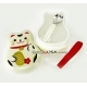 Japanese Bento Box 2 tier Lunch Box with Fork Strap Lucky Cat