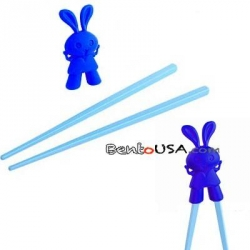 Japanese Assisted Chopsticks Blue Silicone Rabbit
