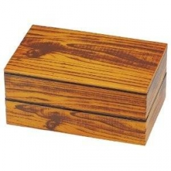 Hakoya Lacquer Bento Lunch Box 2 tier Imitation Wood Design