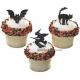Food Decorating Pick Black Cat Witch Bat 8 pcs