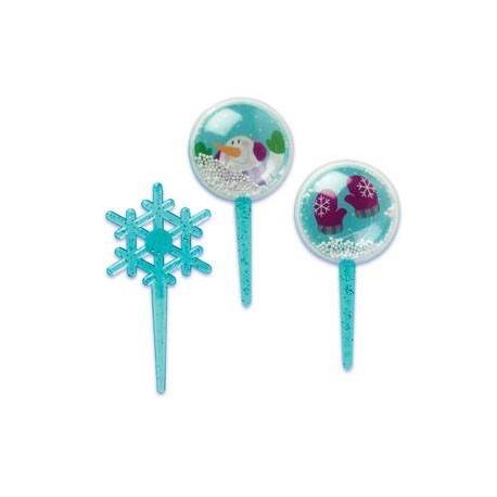Food Decorating Pick Snow Globe Snowflake