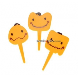 Food Decorating Pick Cute Happy Pumpkin 8 pcs
