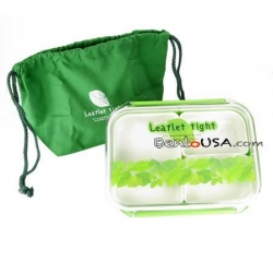 3 Sections Flat Food Storage Bento Lunch Box with Bag Small 650ml