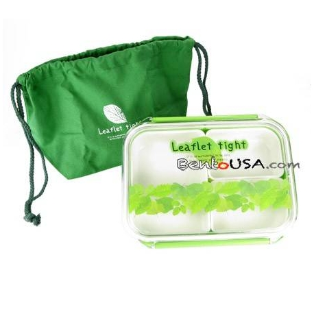 3Sections Flat Food Storage Bento Lunch Box with Bag Small