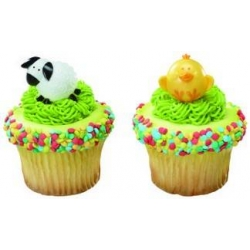 Food Decorating Party Ring Baby Chick and Lamb Cupcake Rings 8pcs