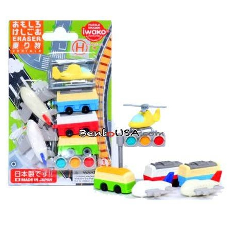 Cute Japanese Puzzle Eraser Set Collectible Vehicle