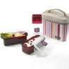 Microwavable Airtight Bento Lunch Box Set Lovely Red with Bottle Medium