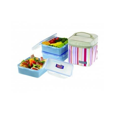 Lock & Lock Square Lunch Box 3-pcs Set with Insulated Bag Pink