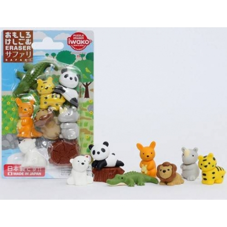 Cute Japanese Safari Animal Puzzle Eraser Set