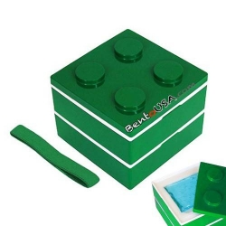 Lacquer Block Bento Lunch Box 2 tier with Cold Gel Pack Green