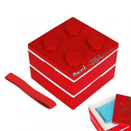Lacquer Block Bento Lunch Box 2 tier with Cold Gel Pack Red