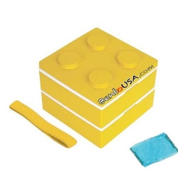 Lacquer Block Bento Lunch Box 2 tier with Cold Gel Pack Yellow
