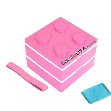 Lacquer Block Bento Lunch Box 2 tier with Cold Gel Pack Pink