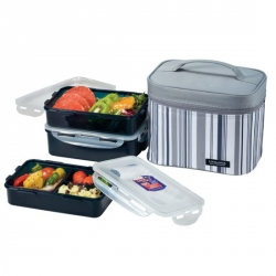 Microwavable Men Lunch Box 3-pcs Set with Insulated Bag