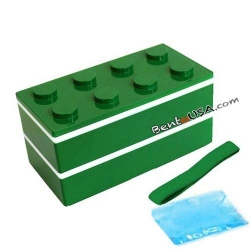 Block Bento Lunch Box 2 tier with Chopsticks and Cold Gel Green