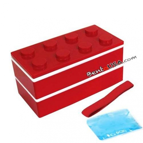 Lacquer Block Bento Lunch Box 2 tier with Chopsticks and Cold Gel Red