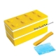 Lacquer Block Bento Lunch Box 2 tier with Chopsticks and Cold Gel Yellow
