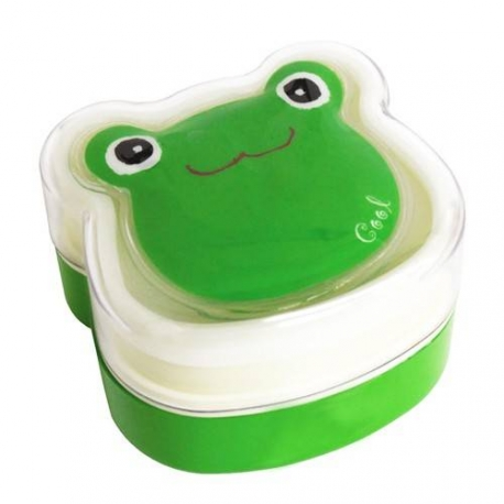Bento Box 2 tier Lunch Box with Strap Frog Face Cold Pack