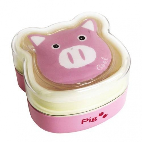 Bento Box 2 tier Lunch Box with Strap Pig Face Cold Pack