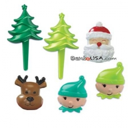 Food Decorating Pick Puffy Ring Santa Christmas Tree Elf