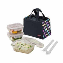 Microwavable Kids Glass Bento Lunch Box Set Spoon Fork